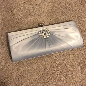 Silver jeweled Clutch with Chain